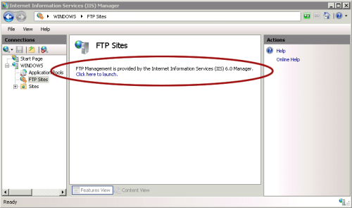 FTP configuration in IIS 7