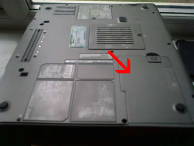 Dell laptop battery housing