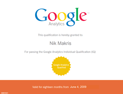 Nik Makris is Google Analytics qualified